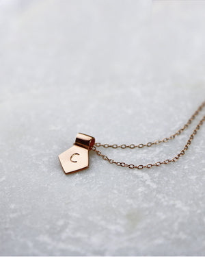 Letter D Pendant Necklace - Rose Gold
