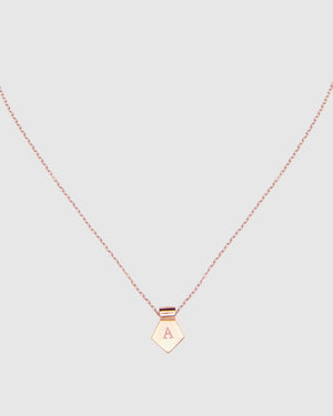 Letter A Pendant Necklace - Rose Gold