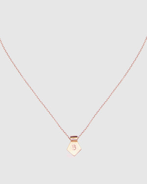 Letter B Pendant Necklace - Rose Gold