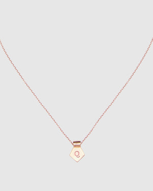 Letter Q Pendant Necklace - Rose Gold