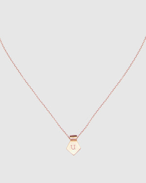 Letter U Pendant Necklace - Rose Gold