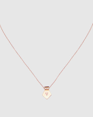 Letter V Pendant Necklace - Rose Gold