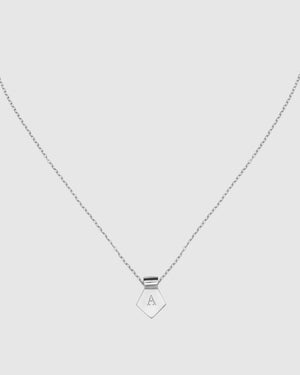 Letter A Pendant Necklace - Silver