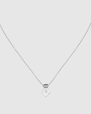 Letter B Pendant Necklace - Silver