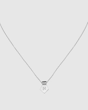 Letter N Pendant Necklace - Silver