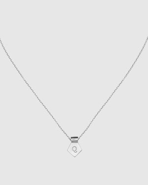 Letter Q Pendant Necklace - Silver