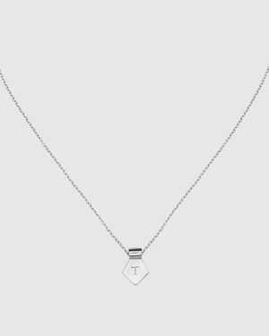 Letter T Pendant Necklace - Silver