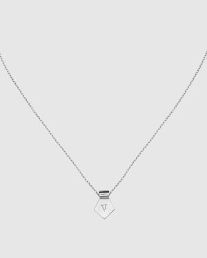 Letter V Pendant Necklace - Silver