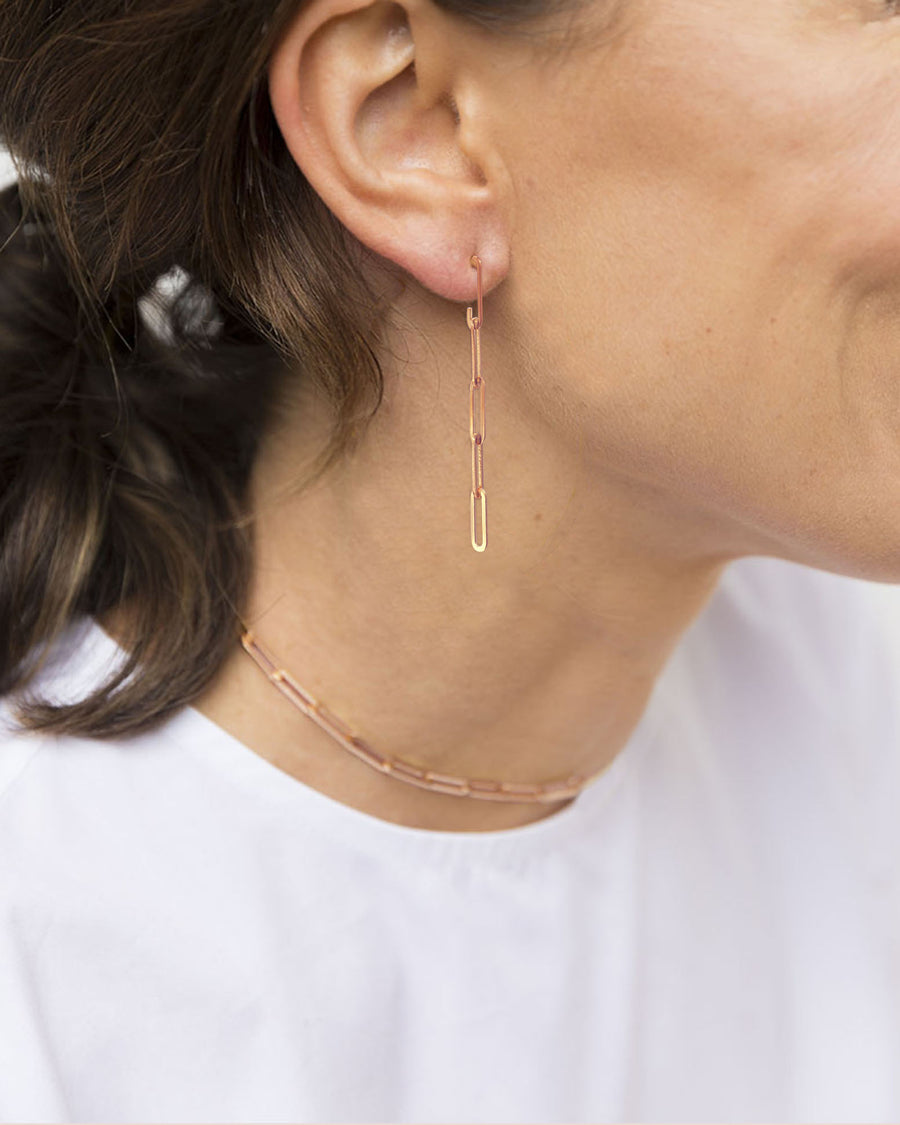 CA Jewellery Link Chain Drop Earrings - Rose  Gold