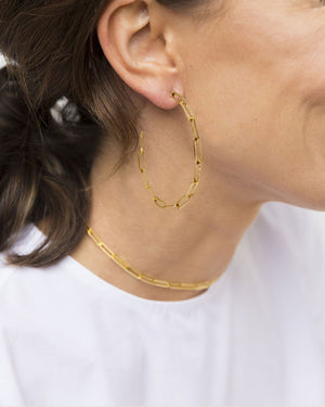 Link Chain Hoop Earrings - Gold