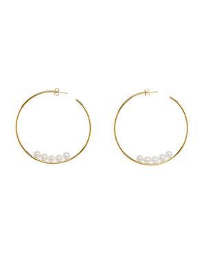 Pearl Hoop Earrings - Gold