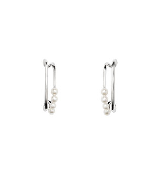 Pearl Stud Earrings - Silver