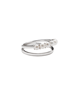 Pearl Double Band Ring - Silver
