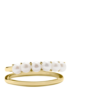 Pearl Double Band Ring - Gold