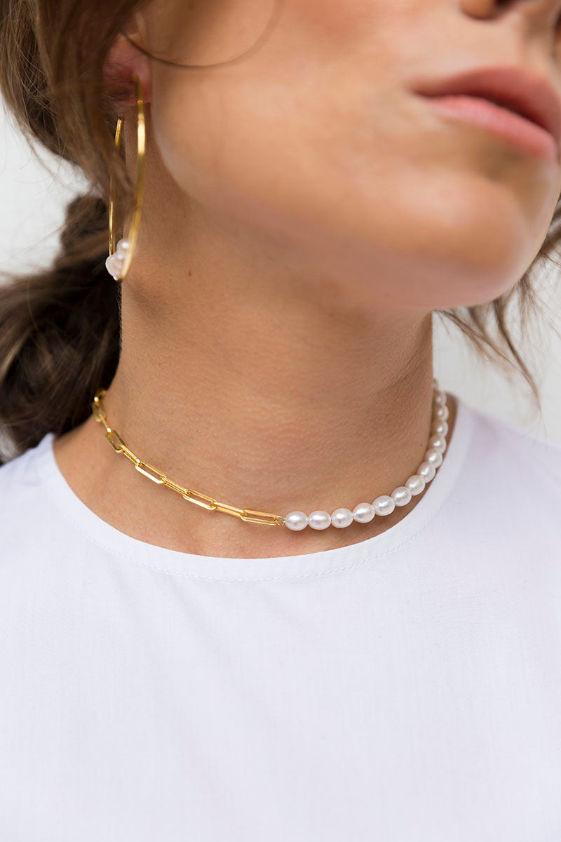 Pearl Adjustable Necklace - Gold