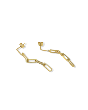 CA Jewellery Link Chain Drop Earrings - Gold