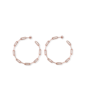CA Jewellery Link Chain Hoop Earrings - Rose Gold