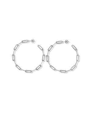 CA Jewellery Link Chain Hoop Earrings - Silver