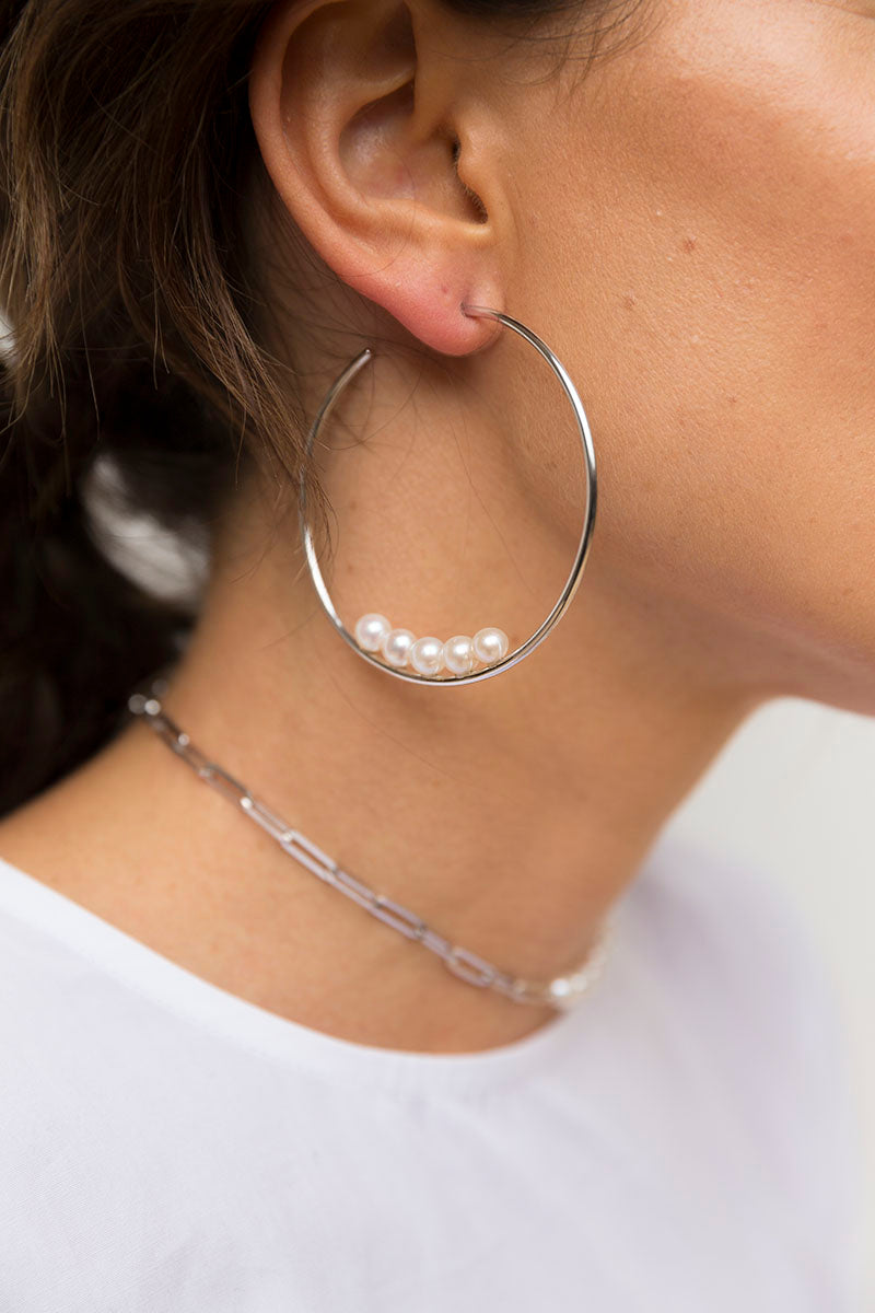 Pearl Hoop Earrings - Silver