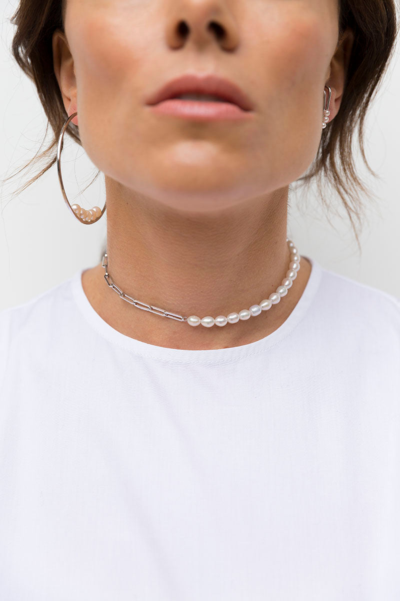 Pearl Adjustable Necklace - Silver