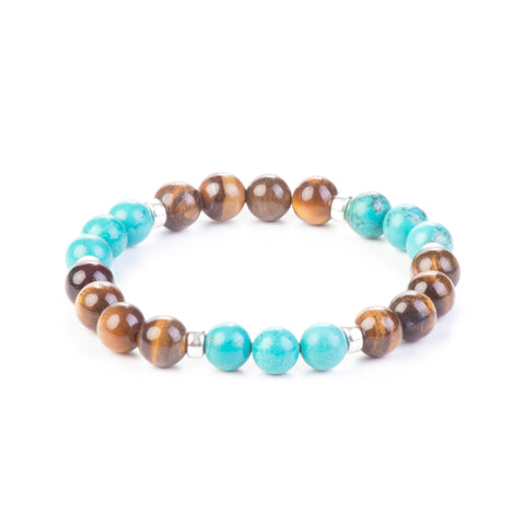 Good Luck Bracelet - Tiger Eye and Aquamarine