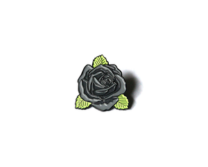 """Gray Rose"" Lapel Pin 