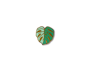 """Green Monstera Leaf"" Lapel Pin 