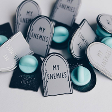 """My Enemies Tombstone"" Lapel Pin 