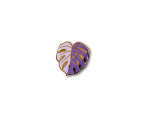 """Purple Monstera Leaf"" Lapel Pin 
