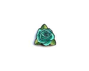 """Teal Rose"" Lapel Pin 