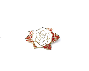 """White and Gold Rose"" Lapel Pin 