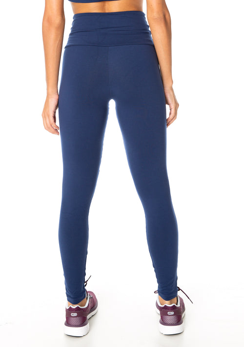 Gloss Panel Supplex Compress F/L Tights - Navy
