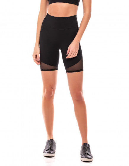 Mesh Detail Shorts - Black