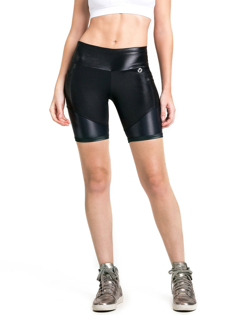 High Gloss Shorts with Pocket - Black