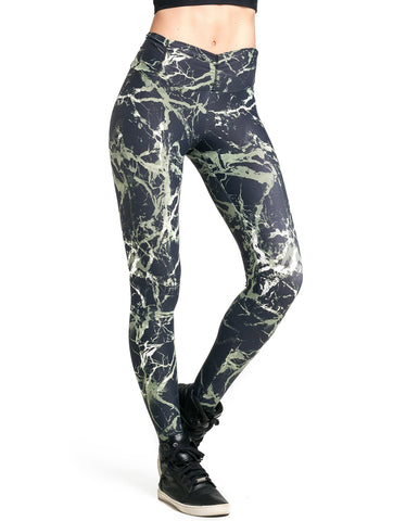 Khaki Mesh Supplex Compress Leggings - High Rise