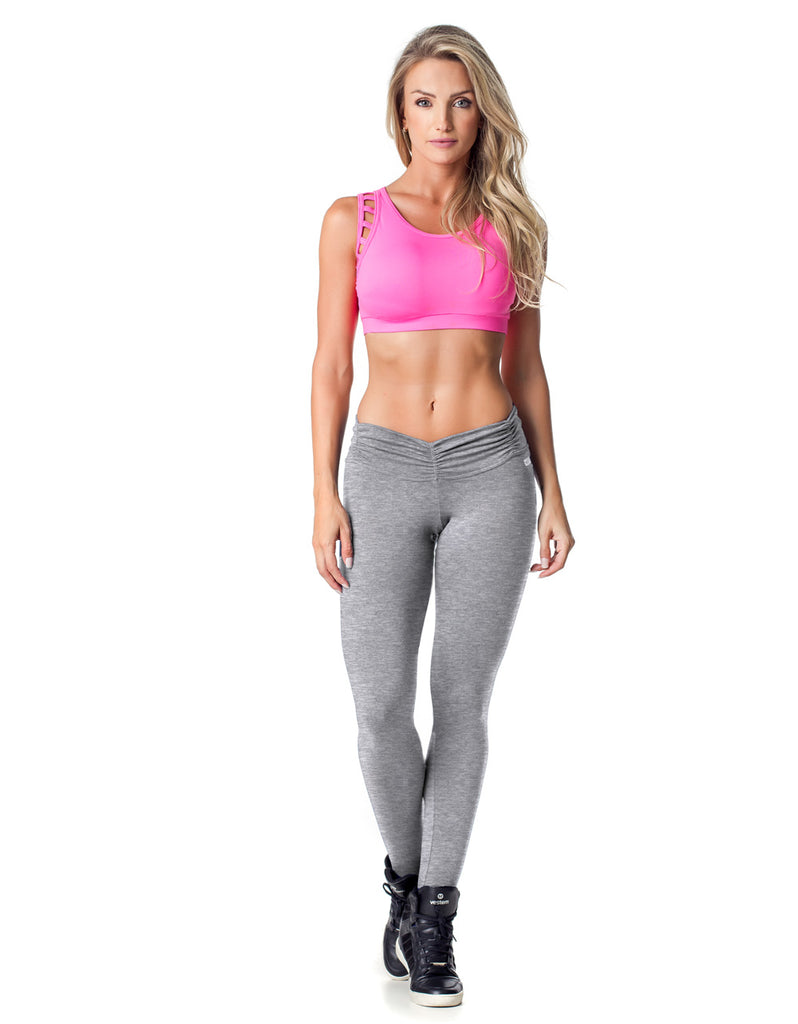 Supplex F/L Tights with Gathered Waist - Grey - Activewear Brazil