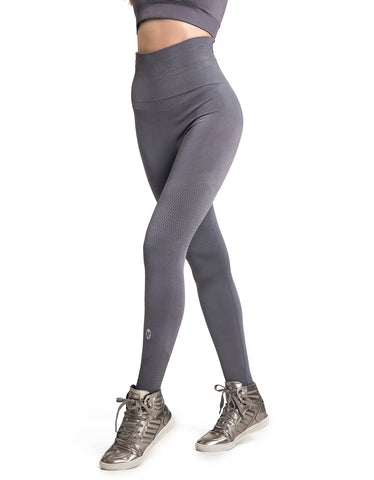 Supplex F/L Tights with Gathered Waist - Grey