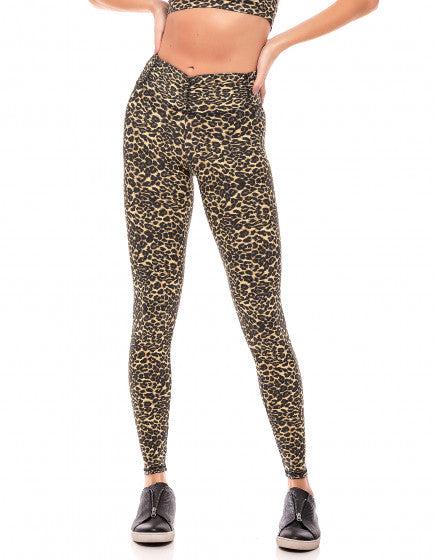 Leopard F/L Tights with Back Pocket & Gathered Waist