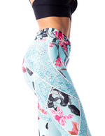 Lightweight F/L Tights Gathered Waist - Aqua Floral