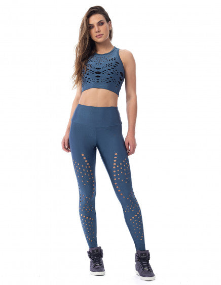 Laser Cut Out F/L Tights - Galaxy Blue