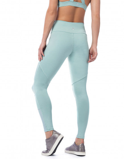 Textured Mesh F/L Compression Tights - Mint