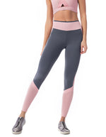 Colour Block F/L Compression Tights - Charcoal/Blush