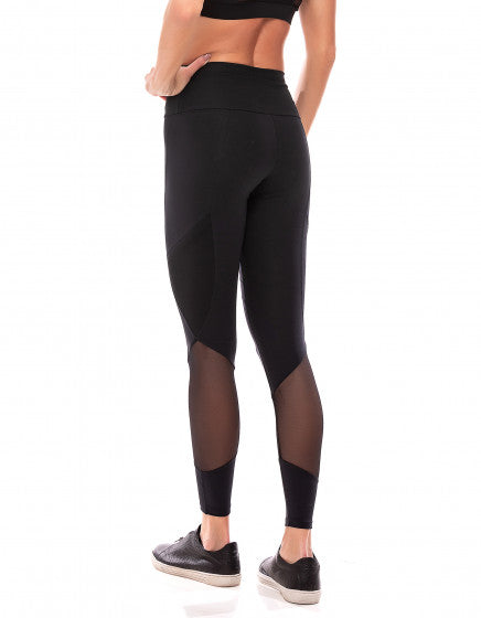 Mesh Panel F/L Tights - Black