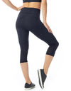 Pocket Mesh 3/4 Leggings - Black - Activewear Brazil