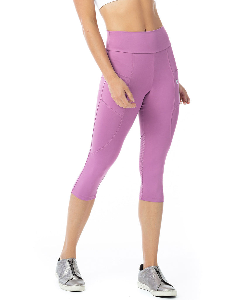 Pocket Mesh 3/4 Leggings - Pink
