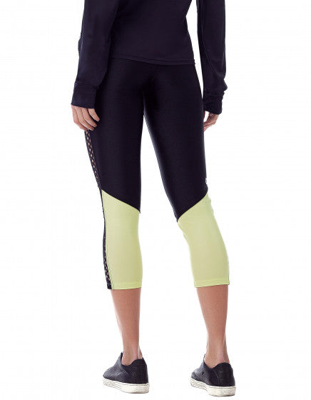 Cut Out Textured Leggings - Black/Lime