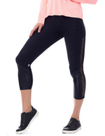 Leopard Textured Leggings - Black/Black