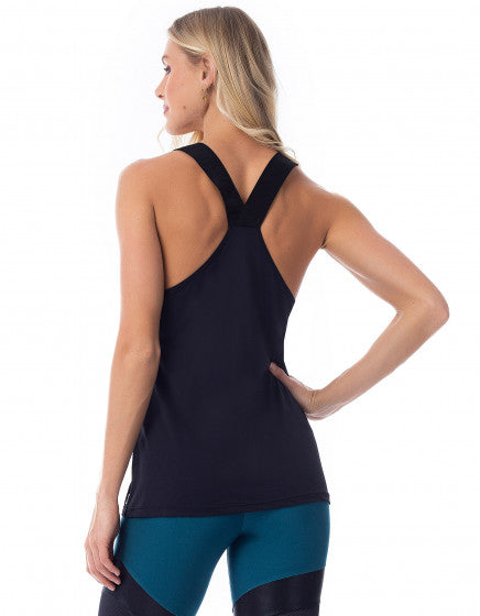 Crossed Back Flowy Tank - Black