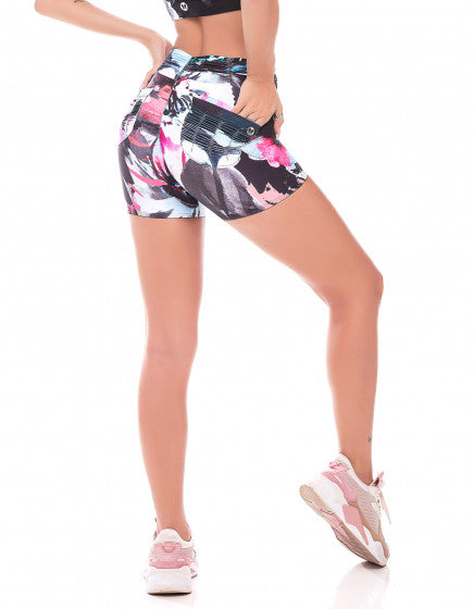 Floral Print Shorts with Back Pocket and Gathered Waist