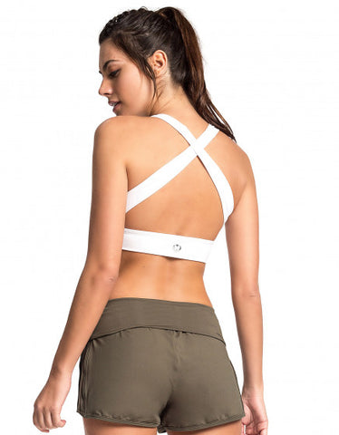 Crossed Back Bra Top - White - Activewear Brazil